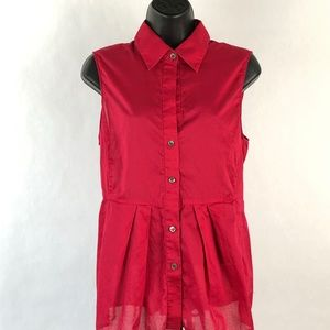 Theory Sleeveless Red Tie-back Waist Blouse Large